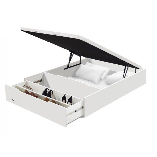 Canape Abatible Madera con zapatero 25 3D de Flex Blanco abierto